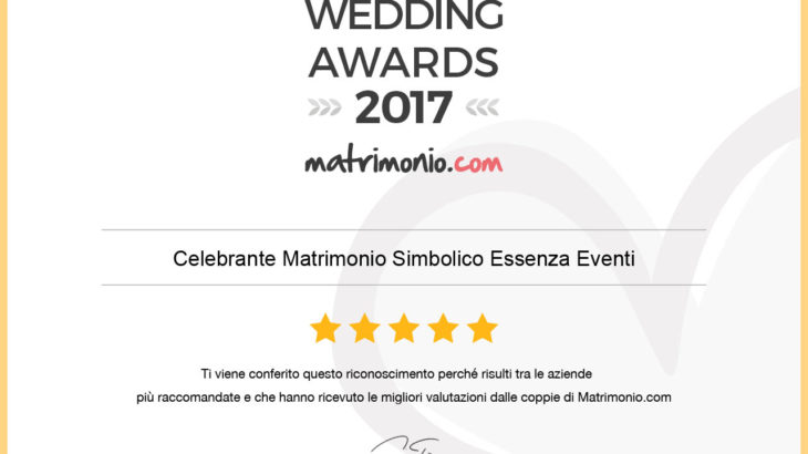 Wedding Awards 2017 Celebrante matrimonio Simbolico Essenza Eventi®
