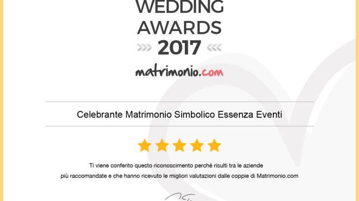 Wedding Awards 2017 Celebrante matrimonio Simbolico Essenza Eventi®