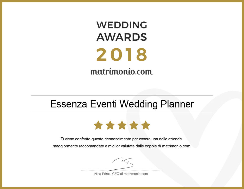 Wedding Awards 2018 Essenza Eventi Wedding Planner