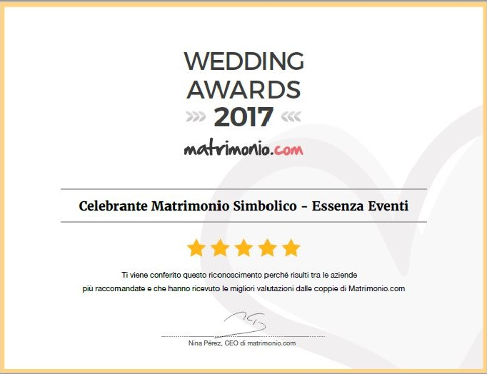 Matrimonio.com – Wedding Award 2017 Celebrante