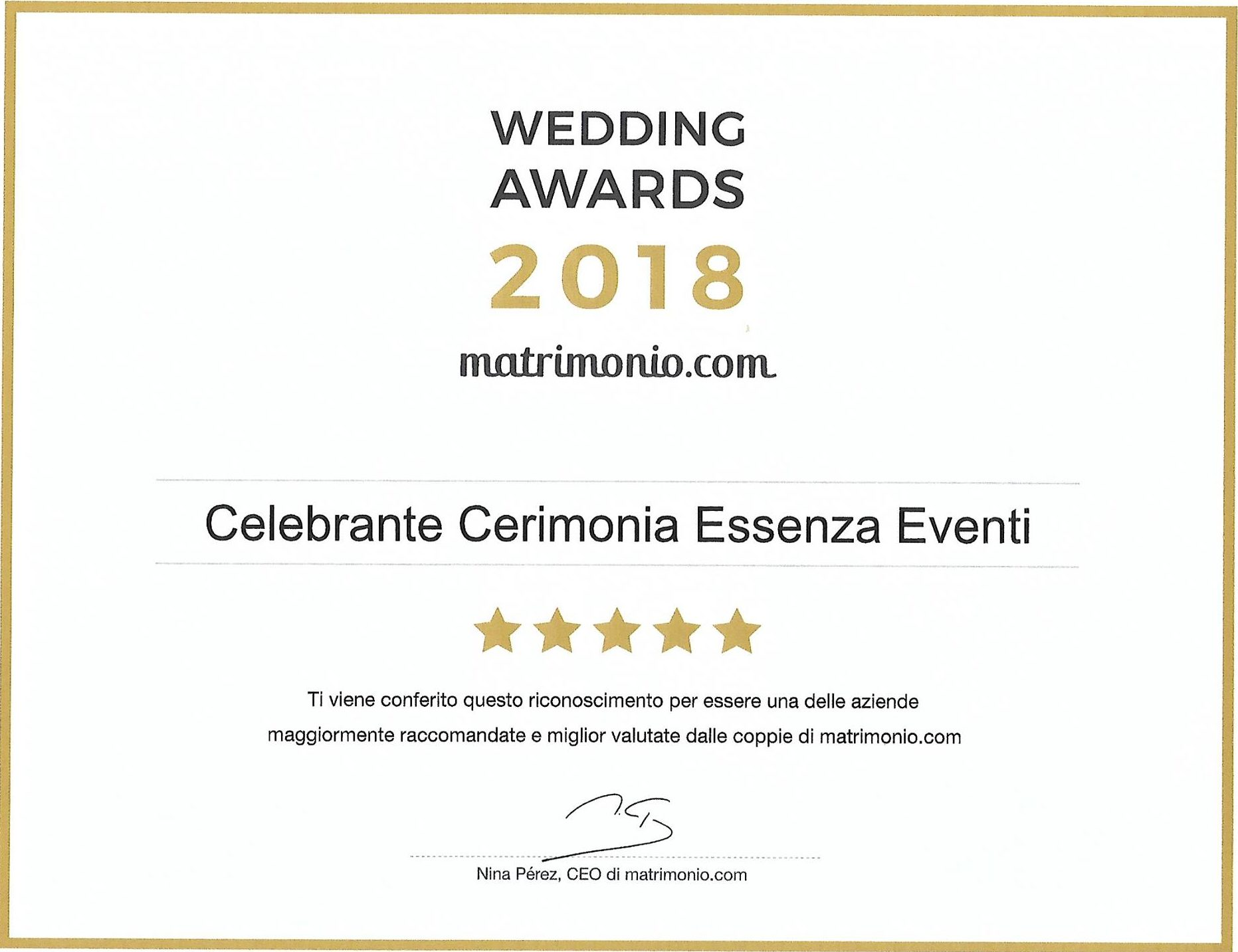 Matrimonio.com – Wedding Award 2018 Celebrante