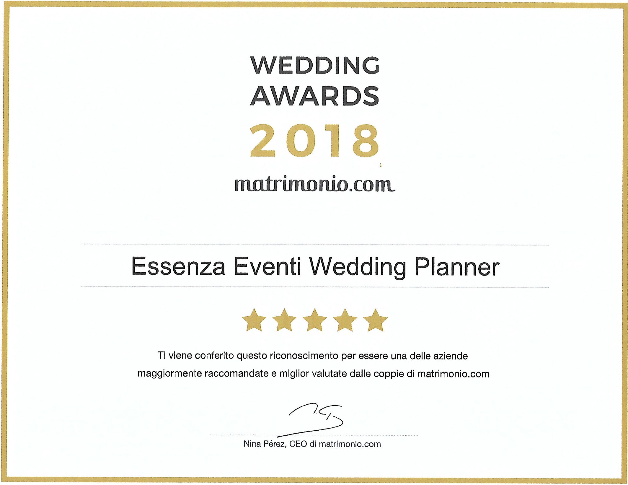 Matrimonio.com – Wedding Award 2018 Wedding Planner