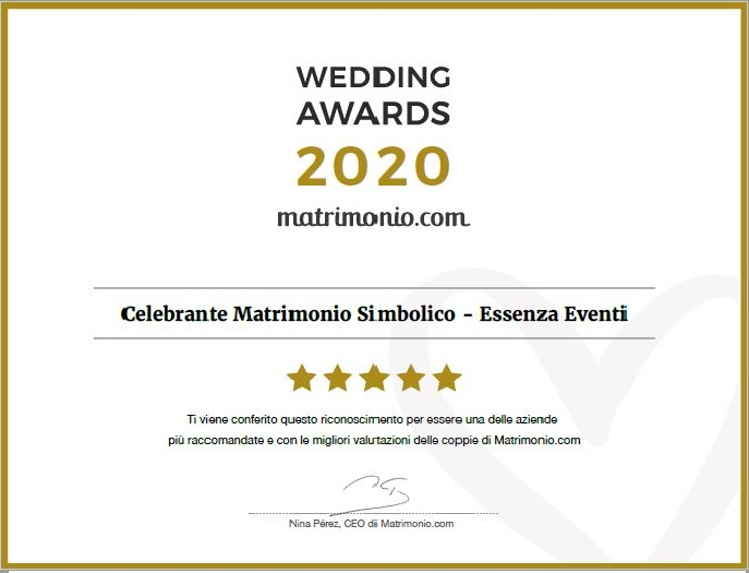 Matrimonio.com – Wedding Award 2020 Celebrante