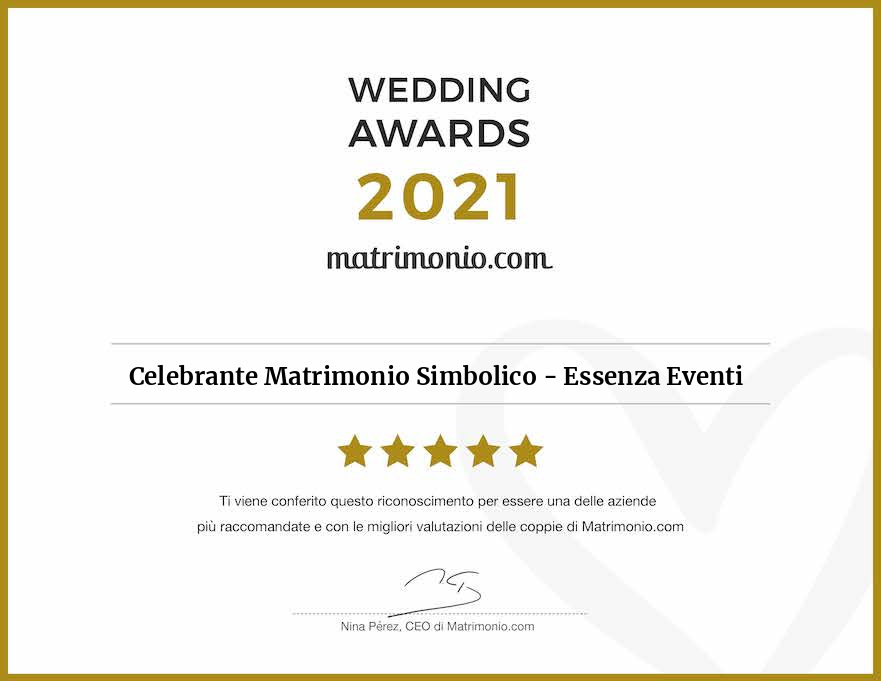 Matrimonio.com – Wedding Award 2021 Celebrante